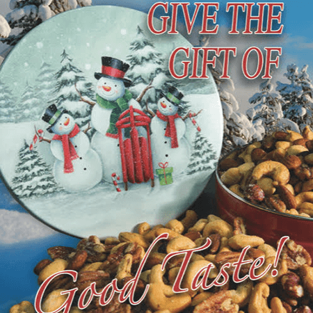 Snow Family Holiday Tin Mixed Nuts