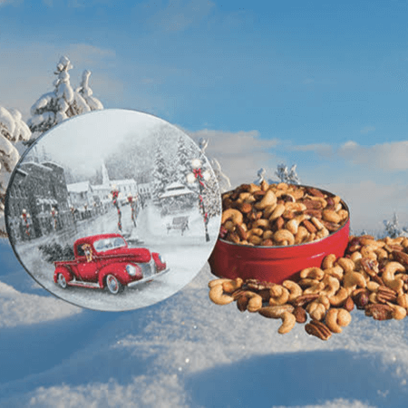 snowy drive holiday tin