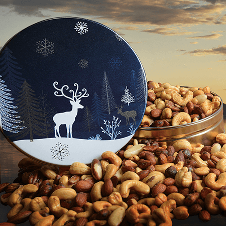 A Crystal Evening Holiday Nuts Gift Tin